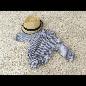 Striped button down onesie